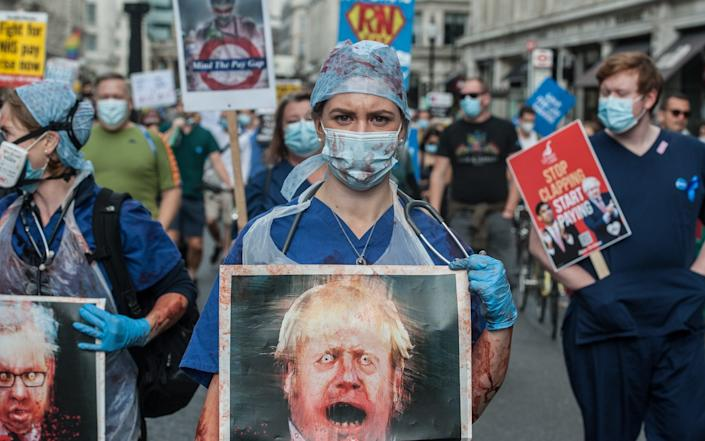 Nurses and NHS staff are protesting after being excluded from a recent pay rise announcement - Getty Images Europe