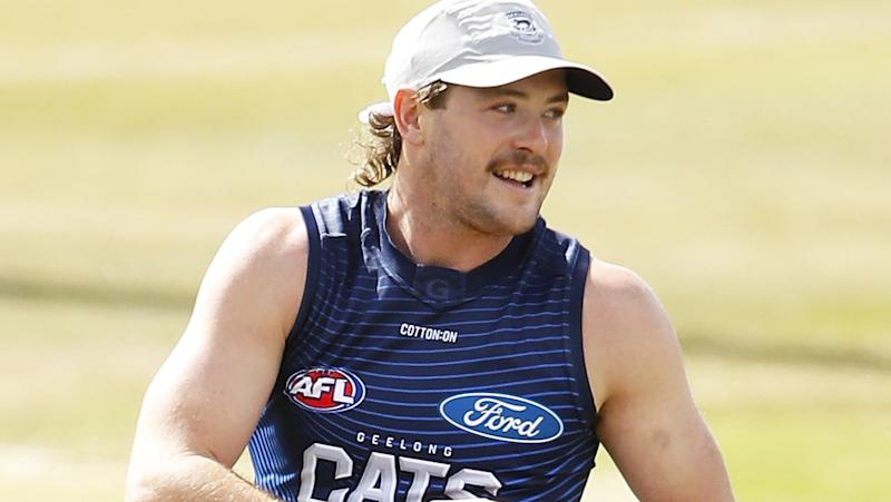 Jack Steven is pictured during a Geelong Cats training session.
