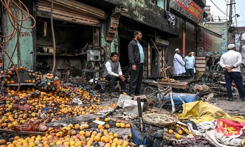 Burnt out shops in Delhi after the riots.