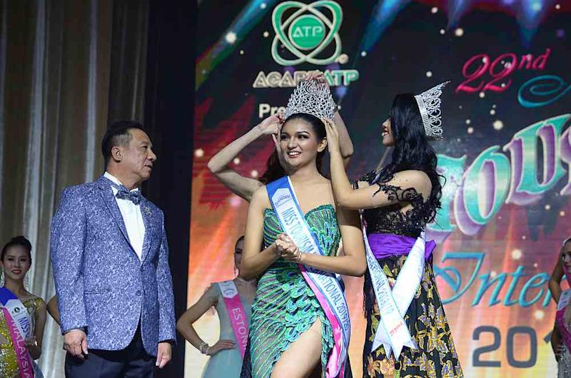 Cyrille Payumo of the Philippines is crowned Miss Tourism International 2019/2020 at the pageant finals. Looking on is Miss Tourism International president Tan Sri Danny Ooi. — Picture courtesy of Miss Tourism International