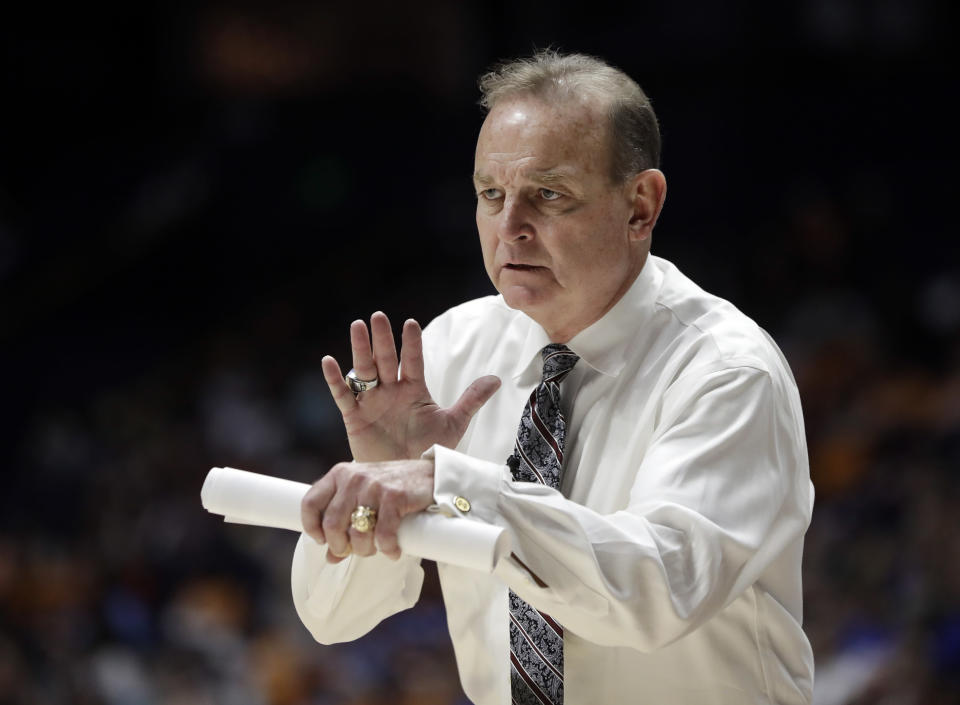 Mississippi State head coach Vic Schaefer watches the action in the second half of an NCAA college basketball game against Kentucky at the women's Southeastern Conference tournament Friday, March 2, 2018, in Nashville, Tenn. Mississippi State won 81-58. (AP Photo/Mark Humphrey)