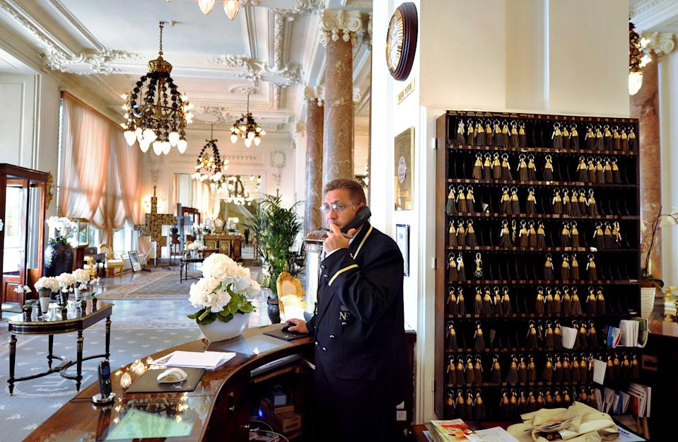 "A picture taken on June 15, 2011, shows the lobby of the luxury hotel ""Hotel du Palais"" in Biarritz, Southwestern France. This hotel became on May 5, 2011 one of the eight deluxe French hotels crowned with the rare distinction of ""palace"" status, a new industry classification for luxury that goes beyond a mere five stars. French tourism authorities said the rank recognised ""French-style excellence"" to boost the profile of the most chic hotels. AFP PHOTO / FRANCK FIFE        (Photo credit should read FRANCK FIFE/AFP/GettyImages)"