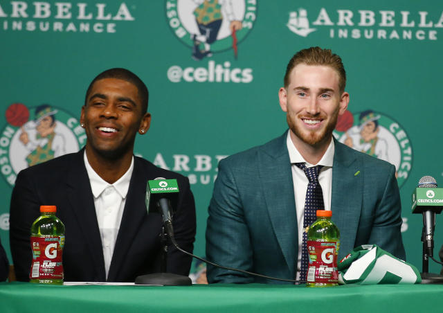 "The Celtics introduced <a class=""link rapid-noclick-resp"" href=""/nba/players/4840/"" data-ylk=""slk:Kyrie Irving"">Kyrie Irving</a> and <a class=""link rapid-noclick-resp"" href=""/nba/players/4724/"" data-ylk=""slk:Gordon Hayward"">Gordon Hayward</a> to Boston on Friday. (AP)"