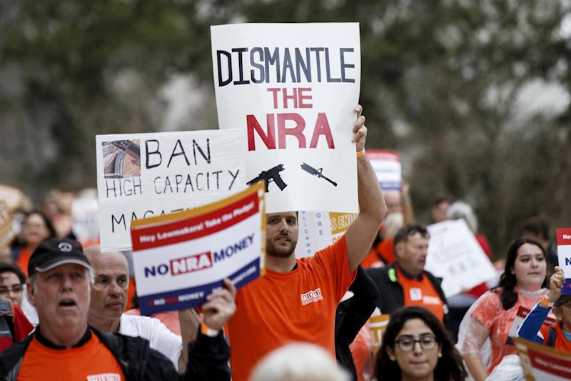 Activists hold up signs at the Florida State Capitol as they rally for gun reform legislation: Don Juan Moore/Getty Images
