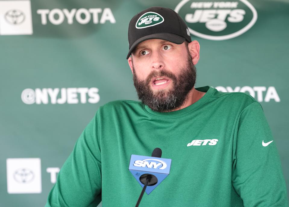 FLORHAM PARK, NJ - AUGUST 03: New York Jets Head Coach Adam Gase speaks to the media following New York Jets Training Camp on August 3, 2019 at Atlantic Health Jets Training Center in Florham Park, NJ (Photo by Joshua Sarner/Icon Sportswire via Getty Images)