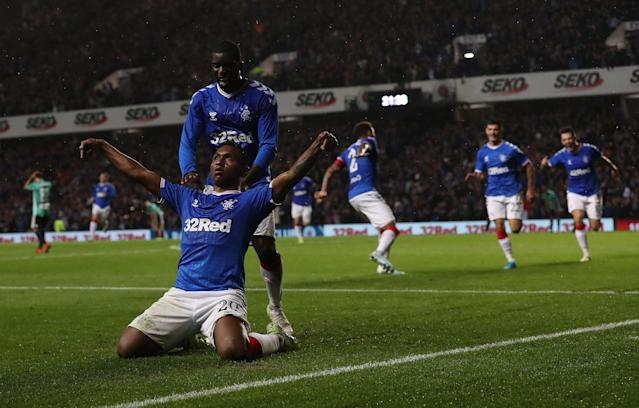 Alfredo Morelos celebrates his winning goal (Photo by Ian MacNicol/Getty Images)