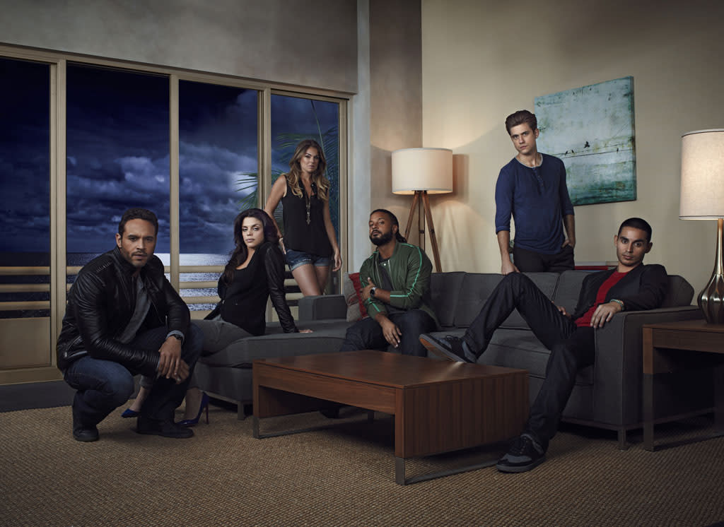 "Aaron Tveit as Mike Warren, Vanessa Ferlito as Charlie Lopez, Serinda Swan as Paige Arkin, Brandon Jay McLaren as Dale Jakes, Daniel Sunjata as Paul Briggs, and Manny Montana as Johnny Tuturro in USA Network's ""Graceland."""