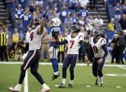 Houston Texans kicker Ka'imi Fairbairn (7) watches his game winning field goal during overtime of an NFL football game against the Indianapolis Colts, Sunday, Sept. 30, 2018, in Indianapolis. Houston won 37-34. (AP Photo/Michael Conroy)