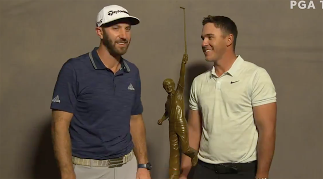 Dustin Johnson Congratulates Brooks Koepka on PGA Player of the Year in Cringeworthy Video