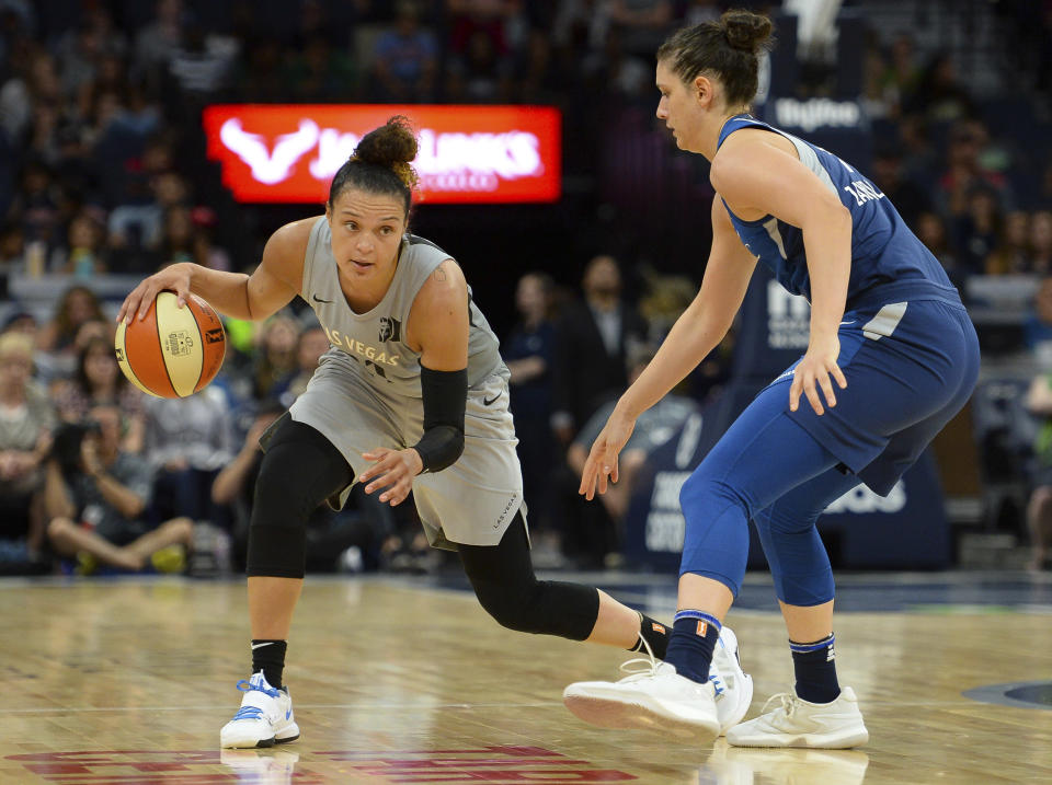 The Las Vegas Aces were forced to officially forfeit their cancelled game against the Washington Mystics. (AP Photo)