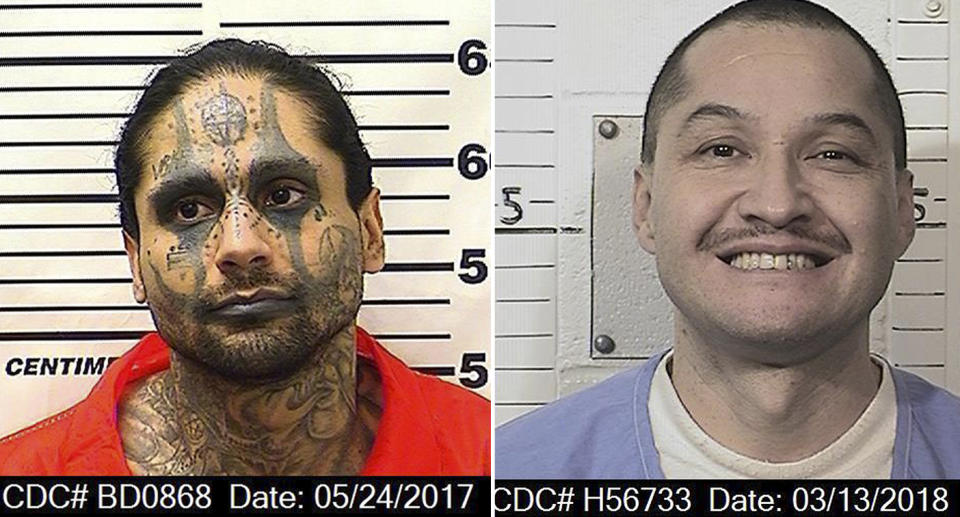 This March 13, 2018, photo released by the California Department of Corrections and Rehabilitation shows Luis Romero. Jaime Osuna, a convicted killer has been accused of beheading Romeror in what authorities call a sadistic torture slaying at a California state prison. The Kings County district attorney charged 31-year-old Jaime Osuna with murder in last month's death of his Corcoran State Prison cellmate, Luis Romero. A prosecutor said Friday, April 26, 2019, that Osuna removed an eye, a finger, and a portion of the victim's lung. (California Department of Corrections and Rehabilitation via AP)