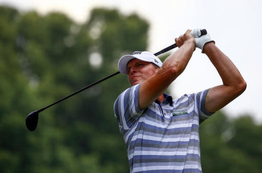 Steve Stricker tees off on the third hole during the final round of the Regions Tradition PGA Champions Tour golf tournament, Sunday, May 20, 2018, in Birmingham, Ala. (AP Photo/Butch Dill)