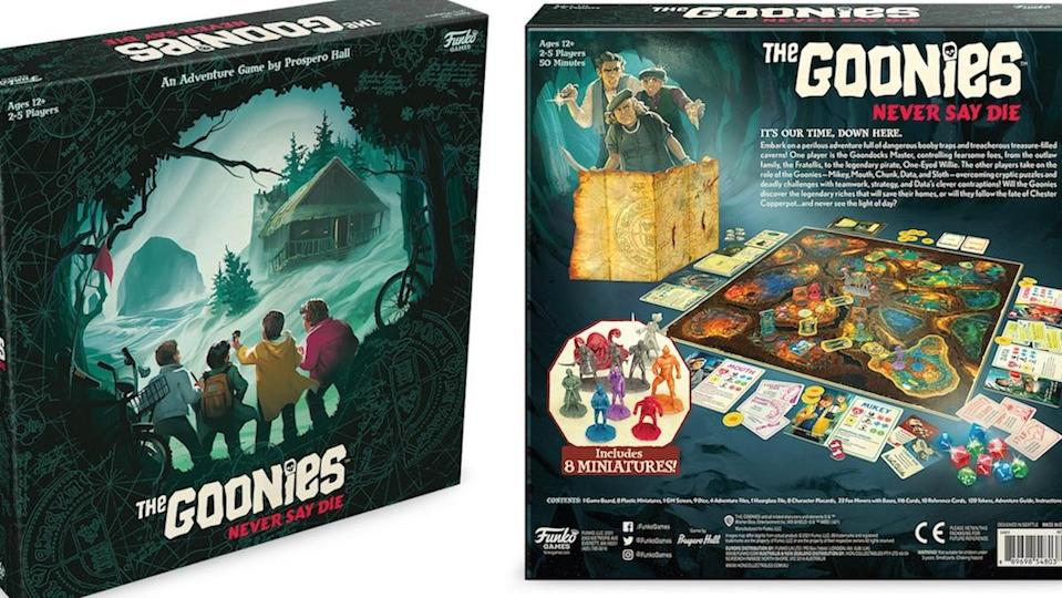 The front and back side of for the box of The Goonies board ggame