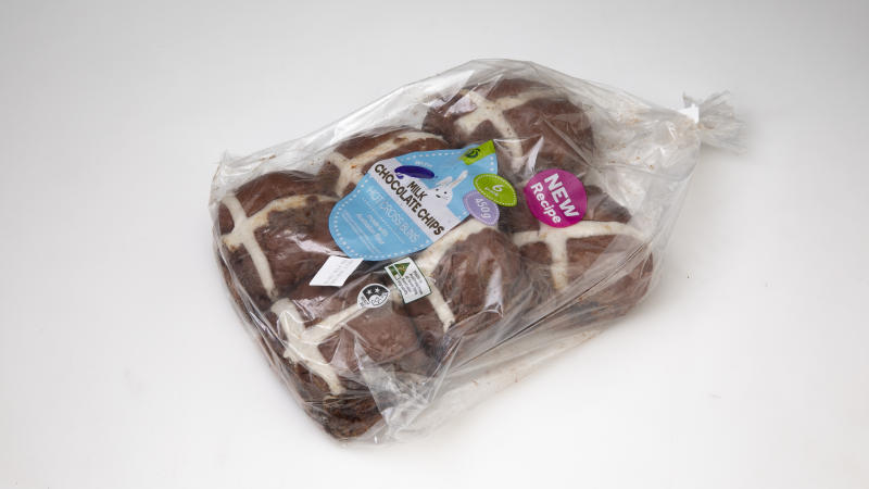 Woolworths Hot Cross Buns with Cadbury Milk Chocolate Chips