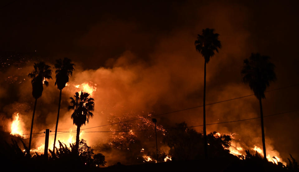 <p>Taken from the ground, this shot shows firefighters battling the Santa Ana wind-driven brush (Picture: Yahoo Photo Staff) </p>