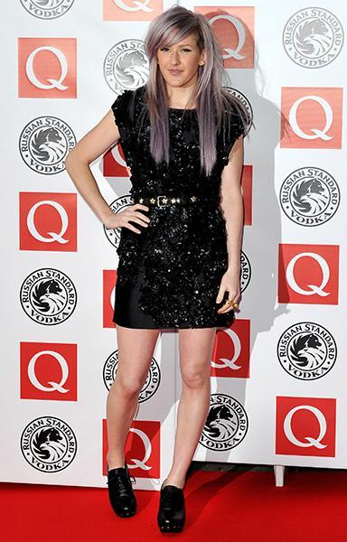 """<div class=""""caption-credit""""> Photo by: Getty Images</div><div class=""""caption-title"""">On the red carpet at the Q Awards in 2010</div>The most rock n' roll look of the bunch, Ellie here pairs an embroidered Mulberry dress with a studded belt and tough-looking clogs. Her candy-purple hair (the trendsetter dyed hers a year before Kelly Osbourne) is the final punch in a total knockout of an outfit."""