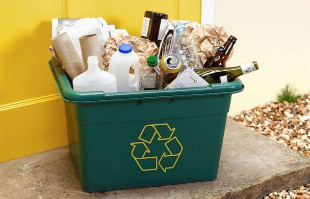PHOTO: A curbside recycling bin full of mixed materials. (STOCK PHOTO/Getty Images)