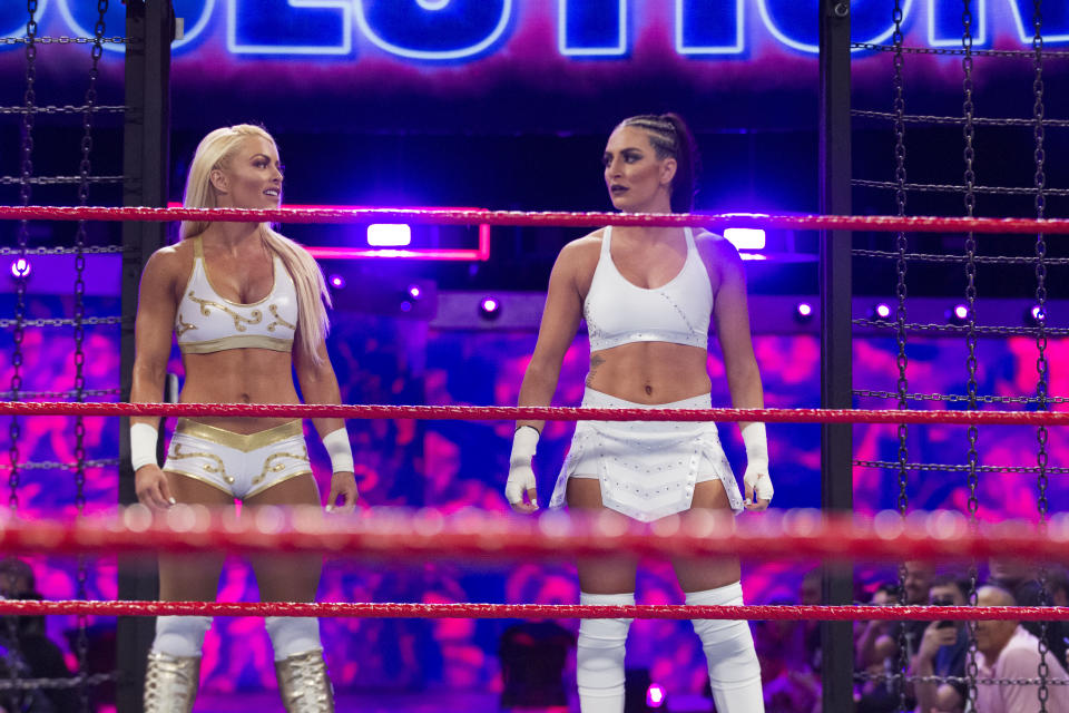Mandy Rose (left) and Sonya Deville (right) will compete for the WWE Women's Tag Team titles at Elimination Chamber on Sunday. (Courtesy WWE)