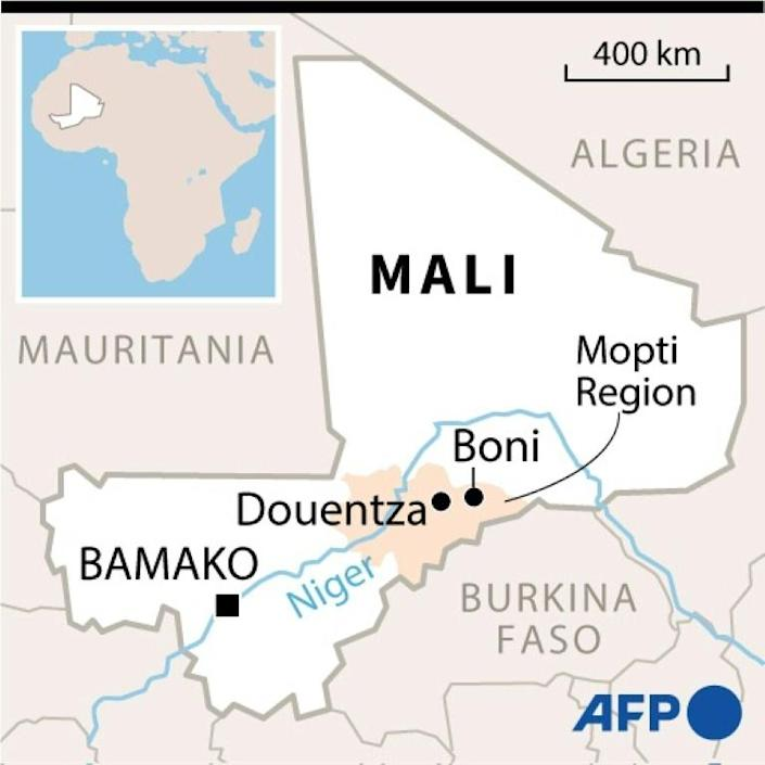 Map of Mali showing Boni military camp where several soldiers were killed in a February 3 in a jihadist attack.