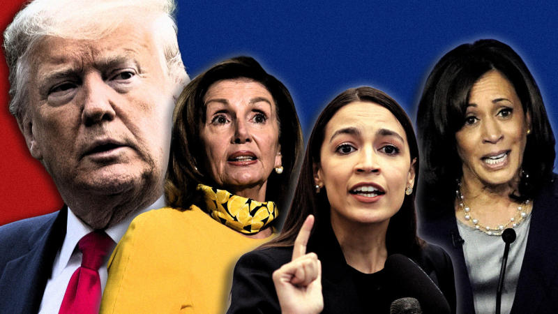 President Trump, House Speaker Nancy Pelosi, Rep. Alexandria Ocasio-Cortez and Sen. Kamala Harris. (Photo illustration: Yahoo News; photos: AP)