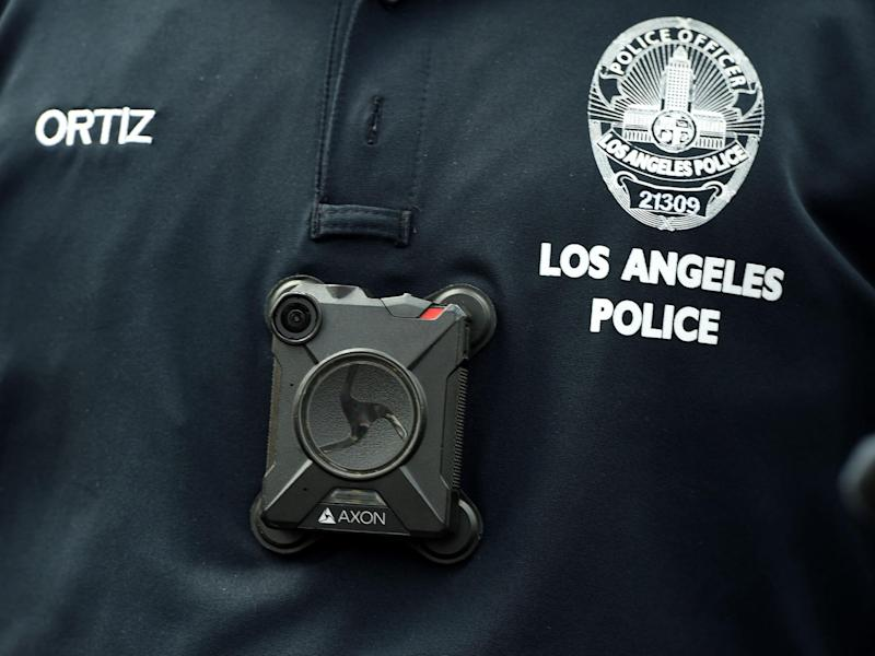 A Los Angeles Police Department officer wears a body camera at the Los Angeles Gay Pride Resist March: AFP via Getty Images