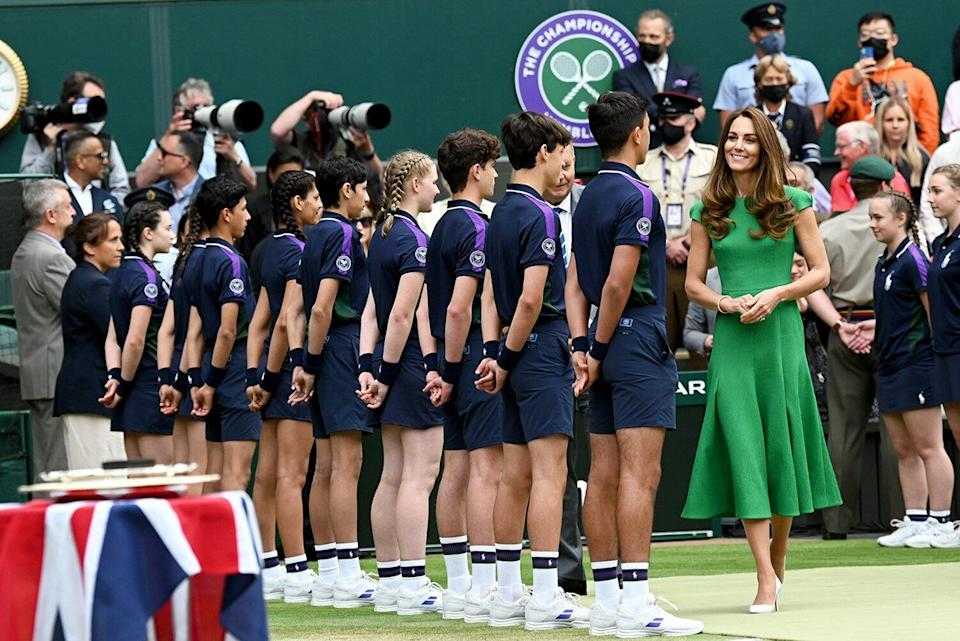 Catherine, Duchess of Cambridge attends Wimbledon Championships Tennis Tournament at All England Lawn Tennis and Croquet Club on July 10, 2021 in London, England.