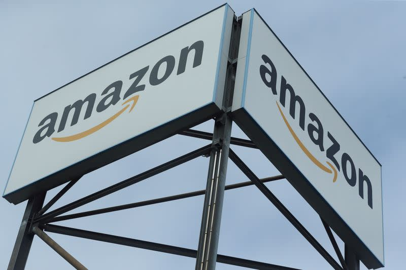 FILE PHOTO: An Amazon logo is pictured at a logistics centre in Mannheim