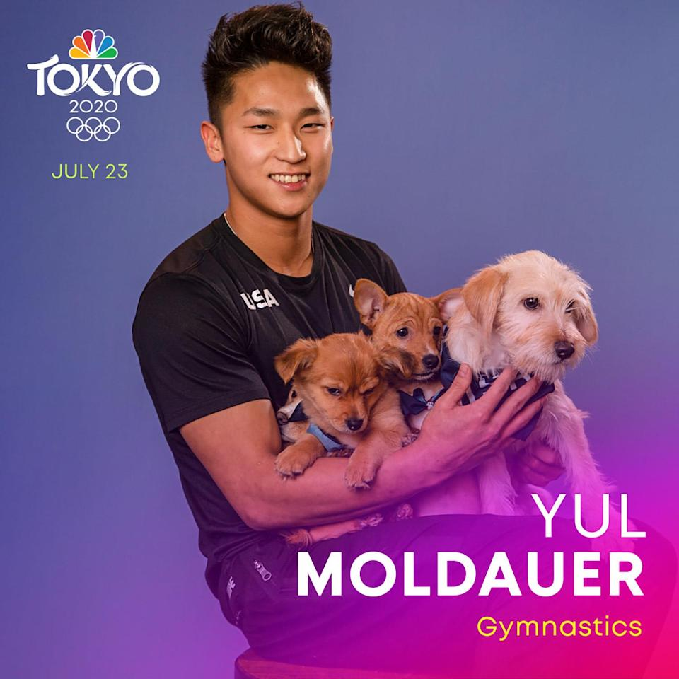 """<p><a href=""""https://www.teamusa.org/usa-gymnastics/athletes/Yul-Moldauer"""" rel=""""nofollow noopener"""" target=""""_blank"""" data-ylk=""""slk:Moldauer"""" class=""""link rapid-noclick-resp"""">Moldauer</a> is a gymnast specializing in artistic gymnastics training to be part of the Tokyo Summer Olympics, which would be his first Olympic Games. </p>"""
