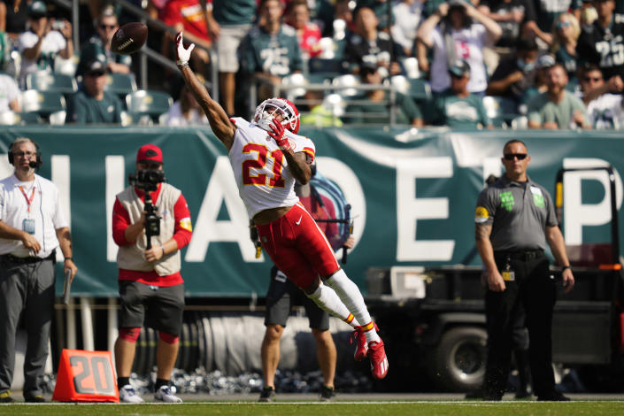 Kansas City Chiefs cornerback Mike Hughes (21) misses a catch during the first half of an NFL football game against the Philadelphia Eagles on Sunday, Oct. 3, 2021, in Philadelphia. (AP Photo/Matt Slocum)