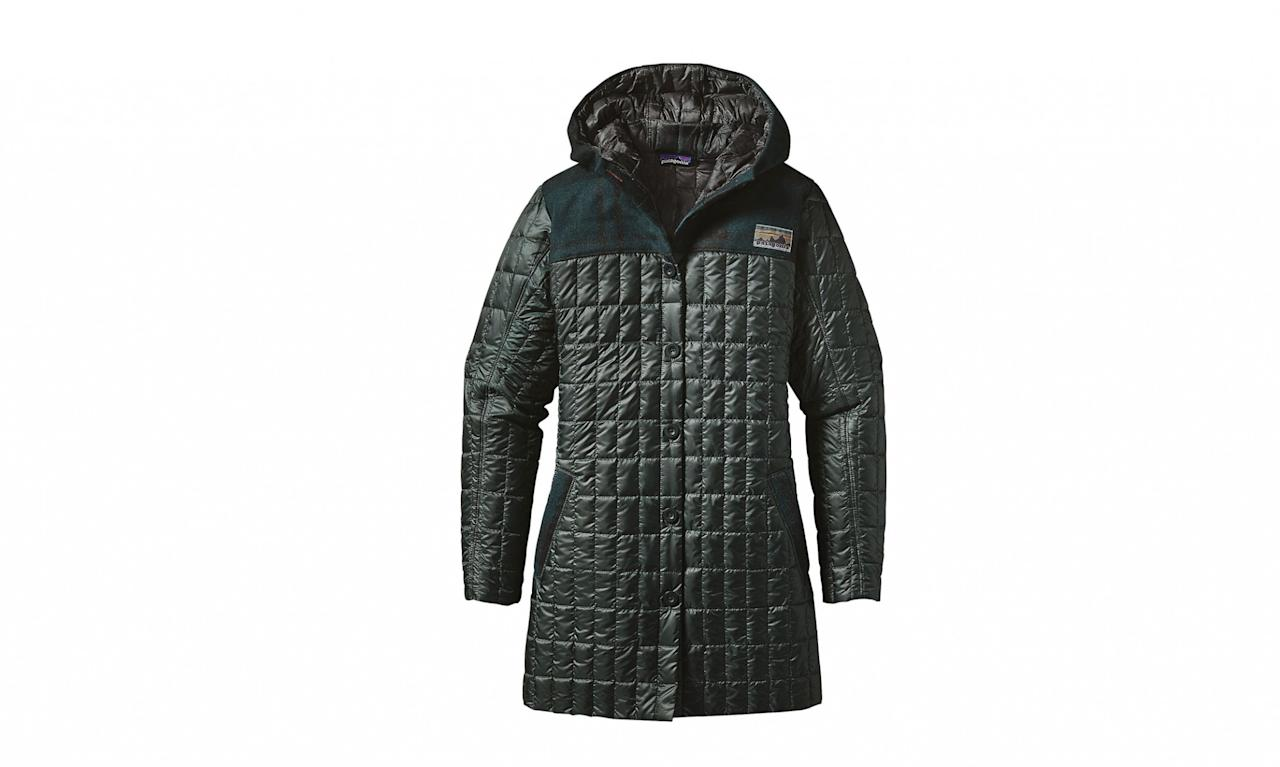 "<p>Women's recycled-down hooded coat, $300, <a rel=""nofollow"" href=""http://www.patagonia.com/product/womens-recycled-down-hooded-coat/28075.html?dwvar_28075_color=CAN&cgid=womens-jackets-vests#tile-24=&start=1&sz=48"">Patagonia.com</a> </p>"