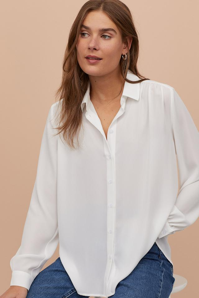 """<p>You can never go wrong with this versatile <a href=""""https://www.popsugar.com/buy/HampM-Long-Sleeved-Blouse-544292?p_name=H%26amp%3BM%20Long-Sleeved%20Blouse&retailer=www2.hm.com&pid=544292&price=15&evar1=fab%3Aus&evar9=47156737&evar98=https%3A%2F%2Fwww.popsugar.com%2Fphoto-gallery%2F47156737%2Fimage%2F47157346%2FHM-Long-Sleeved-Blouse&list1=shopping%2Ctops%2Cworkwear%2Cwinter%20fashion%2Coffice%20style&prop13=api&pdata=1"""" rel=""""nofollow"""" data-shoppable-link=""""1"""" target=""""_blank"""" class=""""ga-track"""" data-ga-category=""""Related"""" data-ga-label=""""https://www2.hm.com/en_us/productpage.0842605015.html"""" data-ga-action=""""In-Line Links"""">H&amp;M Long-Sleeved Blouse</a> ($15).</p>"""