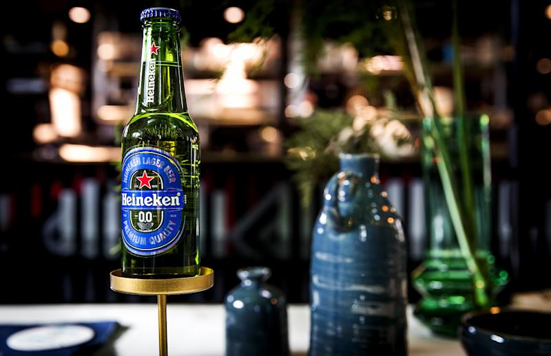 A bottle of Dutch brewing giant Heineken's first alcohol-free beer, called Heineken 0.0, is pictured on March 3, 2017 i Amsterdam. / AFP PHOTO / ANP / Koen van Weel / Netherlands OUT (Photo credit should read KOEN VAN WEEL/AFP/Getty Images)