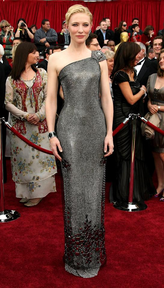 <p>Cate Blanchett has been a fashion favourite since she first shot to fame but has remained loyal to Armani for many years. For the 2007 Academy Awards, she arrived in a one-shouldered gunmetal Armani Prive gown. The dress, which was embellished with a number of Swarovski crystals, is worth $200,000 (£154,000).<br /><i>[Photo: Getty]</i> </p>