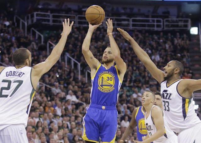 "<a class=""link rapid-noclick-resp"" href=""/nba/players/4612/"" data-ylk=""slk:Stephen Curry"">Stephen Curry</a> and the Warriors kept the Jazz off-balance all series. (AP)"