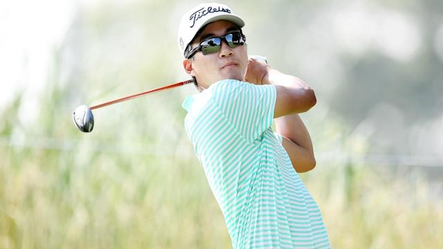 American Michael Kim had one hole remaining when play was suspended due to inclement weather in Silvis, Illinois Friday.