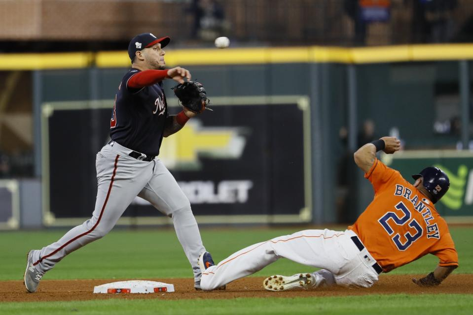 The last game that counted for MLB was last October, when the Nationals beat the Astros in Game 7 of the World Series. (AP Photo/Matt Slocum)