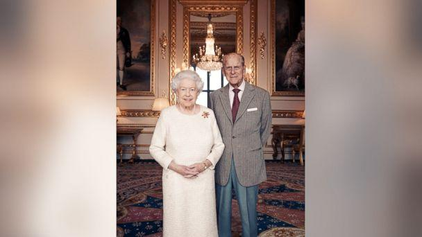 PHOTO: Britain's Queen Elizabeth and Prince Philip pose for a photograph in the White Drawing Room at Windsor Castle, England in this handout photo issued Nov. 18, 2017, in celebration of their platinum wedding anniversary Nov. 20, 2017.<p>(Matt Holyoak/CameraPress/Handout via Reuters)