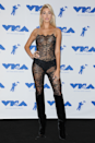 <p>Hailey Bieber wore this lace lingerie-inspired look at the 2017 MTV Video Music Awards.</p>
