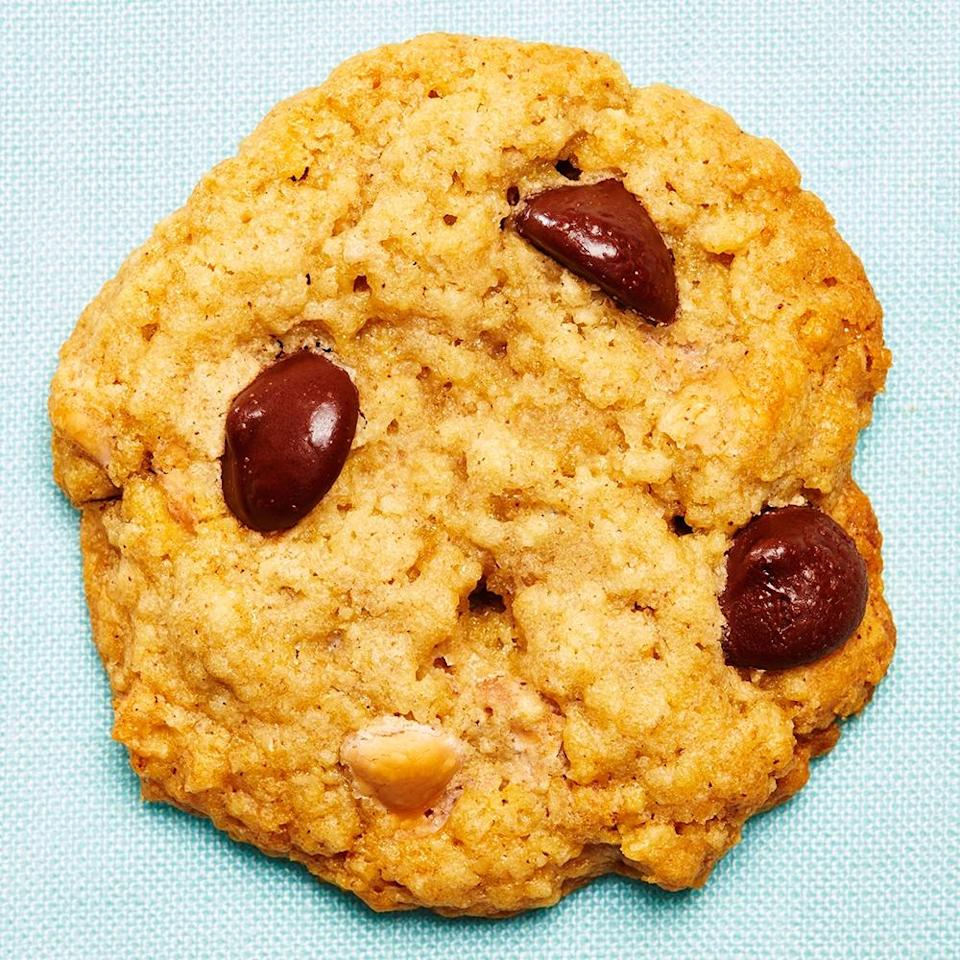 """<strong>Milana's Cookies</strong><br>Yield: Approximately 42 cookies<br><br><strong>Milana Baker:</strong> <em>""""Here's my cookie recipe. I'm really into elevating store bought things, and I'm also pretty sure that I might have stolen this recipe from one of my RAs in college — but it's mine now.""""</em><br><br><strong>Ingredients</strong><br>Betty Crocker Oatmeal Cookie Mix, make according to package instructions<br>1/2-1 cup butterscotch chips<br>1/2-1 cup dark chocolate chips<br><br><strong>Instructions</strong><br>1. Follow the instructions for the oatmeal cookie mix.<br><br>2. Add in the butterscotch chips and dark chocolate chips<br><br>3. Follow the oatmeal cookie mix instructions for baking (Usually about 10-12 minutes at 375ºF.)<br><br>4. COOKIES! (They should be crispy on the outside & chewy on the inside)<span class=""""copyright"""">Photographed by Ted Cavanaugh; Food Styling by Claudia Ficca.</span>"""