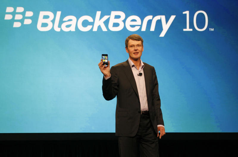 FILE - In this May 1, 2012 file photo, Thorsten Heins, president and CEO of Research In Motion, delivers the keynote speech during the BlackBerry World conference in Orlando Fla. The struggling Blackberry-maker on Tuesday, May 29, 2012 warned that it will have an operating loss in the current March-June quarter and said there will be significant layoffs this year.  (AP Photo/Reinhold Matay, File)
