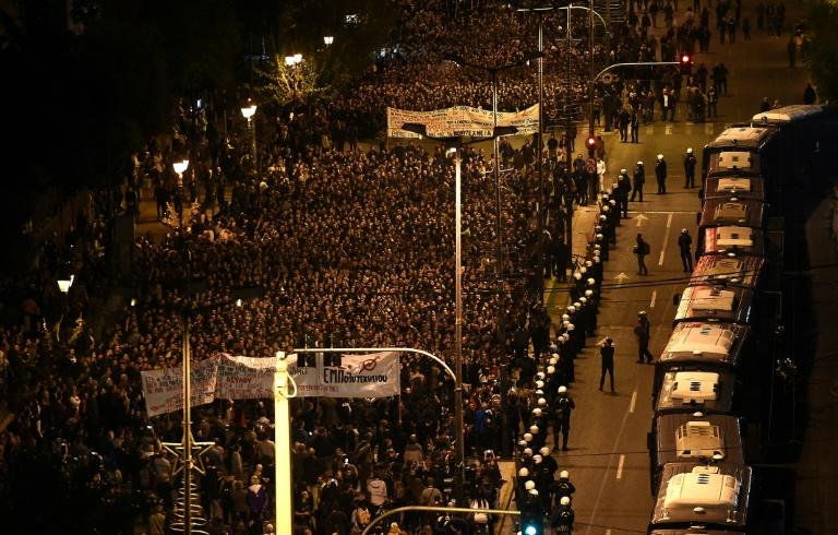 Police said around 20,000 turned out for the Athens march