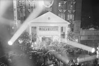 """<p>For the December 1939 premier at Loew's Grand Theatre, Georgia's governor had the <a rel=""""nofollow noopener"""" href=""""http://time.com/3628199/gone-with-the-wind-facts/"""" target=""""_blank"""" data-ylk=""""slk:National Guard on standby"""" class=""""link rapid-noclick-resp"""">National Guard on standby</a>; inside the city, Atlanta's mayor declared a three-day holiday and even encouraged his constituents to dress up à la Scarlett and Rhett - hoop skirts, pantalets, tight trousers and all.</p>"""