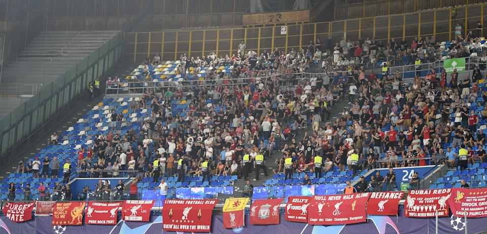 NAPLES, ITALY - SEPTEMBER 17: (THE SUN OUT, THE SUN ON SUNDAY OUT) The Fans of Liverpool during the UEFA Champions League group E match between SSC Napoli and Liverpool FC at Stadio San Paolo on September 17, 2019 in Naples, Italy. (Photo by John Powell/Liverpool FC via Getty Images)