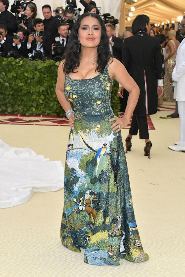 <p>Hayek wore the Garden of Eden on her Altuzarra gown. (Photo: Getty Images) </p>