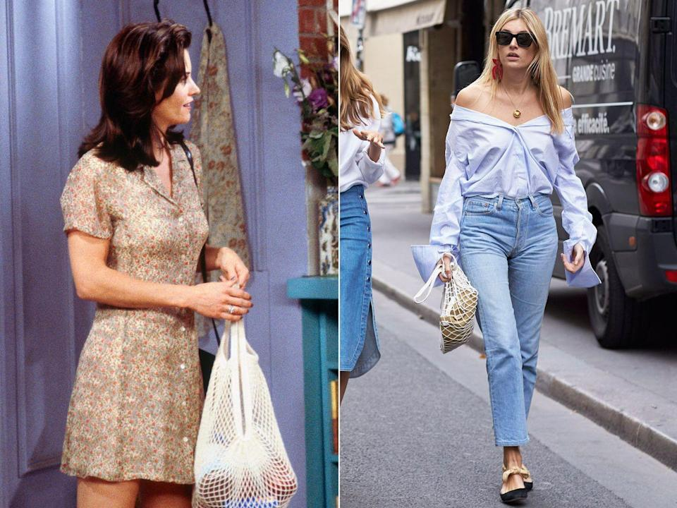 """<p><strong>The moment:</strong> Season 3, episode 6</p><p>Not a catwalk trend per se, but certainly an enduring street-style obsession: <a href=""""https://www.harpersbazaar.com/uk/fashion/shows-trends/a43741/string-net-bag-trend-2017/"""" rel=""""nofollow noopener"""" target=""""_blank"""" data-ylk=""""slk:string grocery bags"""" class=""""link rapid-noclick-resp"""">string grocery bags</a>. They have been carried by the likes of Camille Charriere and re-imagined by Vetements, but Monica was way ahead of the curve (even if she was just using it to carry her groceries).</p>"""