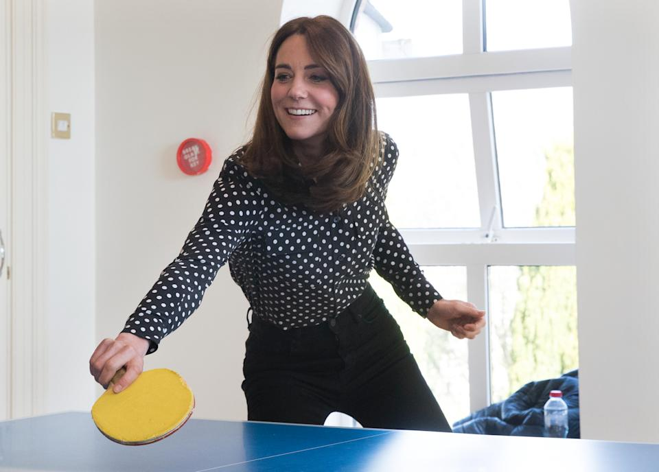 DUBLIN, IRELAND - MARCH 04: Catherine, Duchess of Cambridge plays table tennis as she visits Savannah House, a residential facility run by charity Extern, in County Meath, north of Dublin on March 4, 2020  (Photo by Pool/Samir Hussein/WireImage)