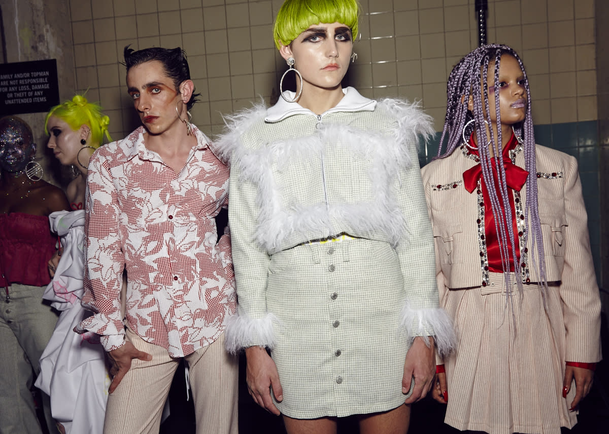 <p>The MAN show featured three collections from three up-and-comers: Per Götesson, Art School and Rottingdean Bazaar. Pictured here is Art School's gender-pushing queer couture.<br /><i>[Photo: BFC]</i> </p>