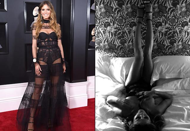 Heidi Klum looking hot on the red carpet at the Grammys … and looking even hotter later that night in bed. (Photos: Dimitrios Kambouris/Getty Images for NARAS and Heidi Klum via Instagram)