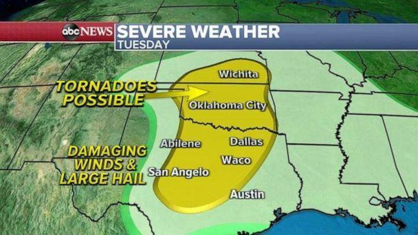 PHOTO: Ahead of this storm on Tuesday, a stationary front will produce strong storms from Louisiana to Alabama and these storms could also produce isolated tornado and damaging winds.   (ABC News)