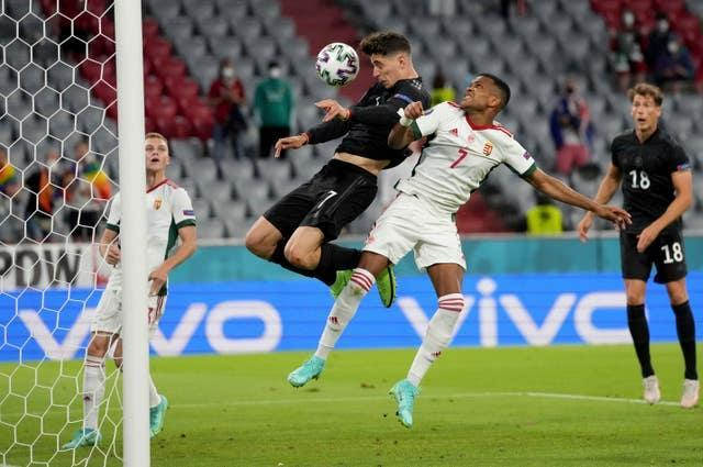 Havertz scores Germany's first goal in the 2-2 draw with Hungary (Matthias Schrader/AP).